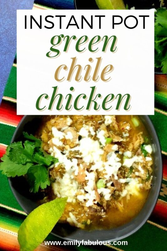 green chile chicken made in a pressure cooker