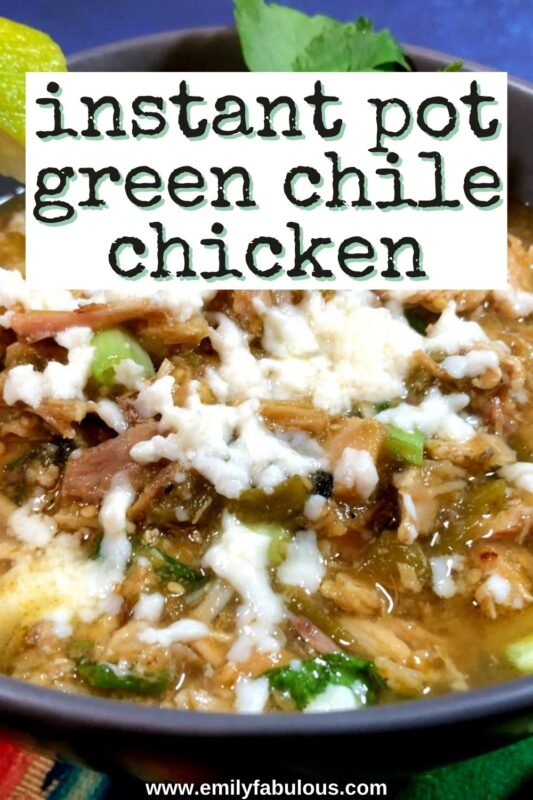 green chile chicken verde made in the instant pot with cheese melted on top