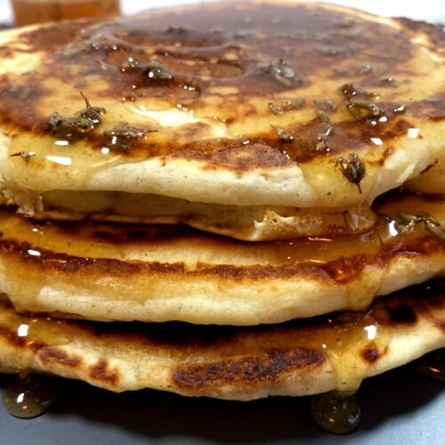 lavender pancakes with lavender honey