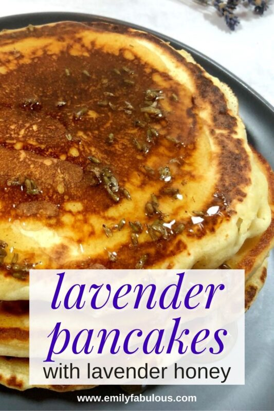 lavender pancakes on a plate that have lavender honey as syrup