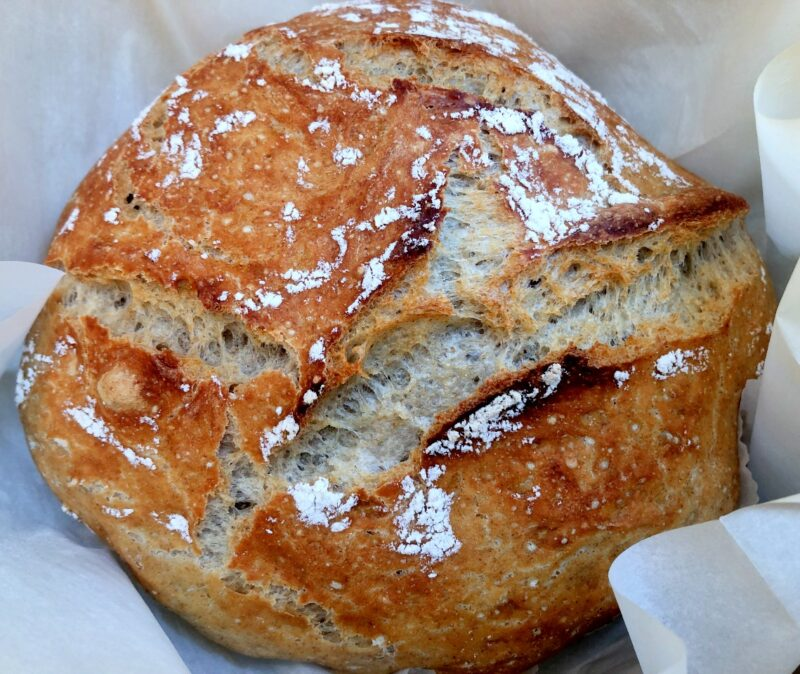 no knead bread made with unbleached flour