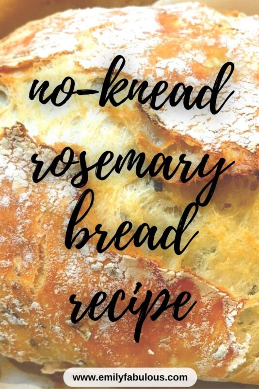 a round loaf of no-knead bread with fresh rosemary