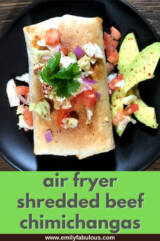 chimichanga cooked in air fryer with toppings