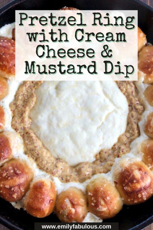 skillet pretzels with cream cheese mustard dip