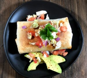 air fryer chimichanga with toppings