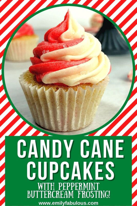 swirled peppermint frosting on top of a candy cane cupcake
