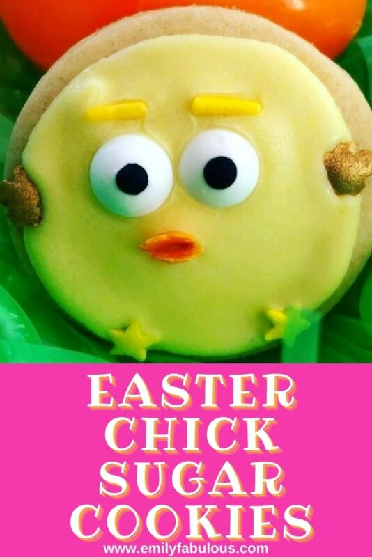 eater chick sugar cookie with sprinkles