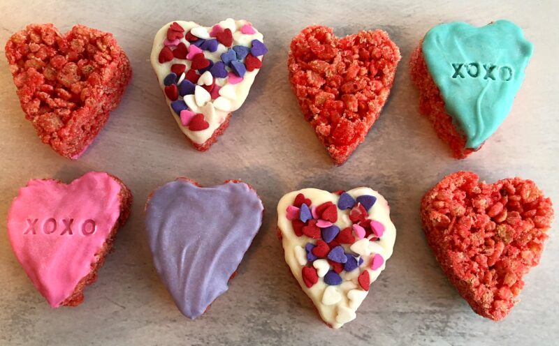 conversation heart rice cereal treats with candy coating and sprinkles
