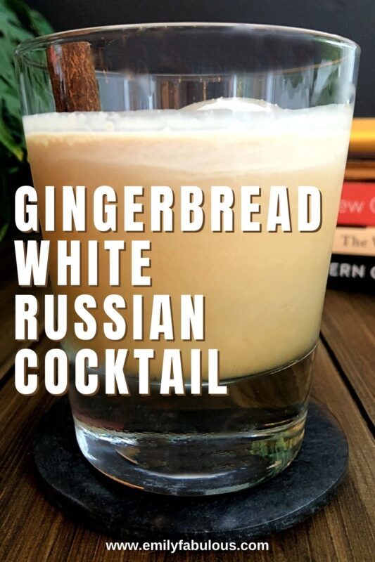 gingerbread white russian cocktail stirred with a cinnamon stick