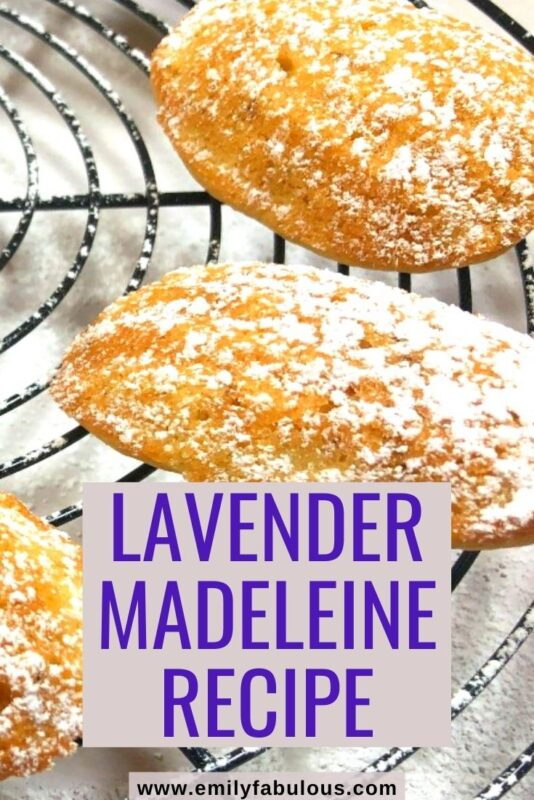 lavender madeleines on a round cooling rack sprinkled with powdered sugar
