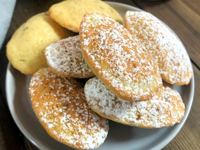 madeleines with lavender and powdered sugar