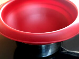 silicone double broiler bowl on a pan