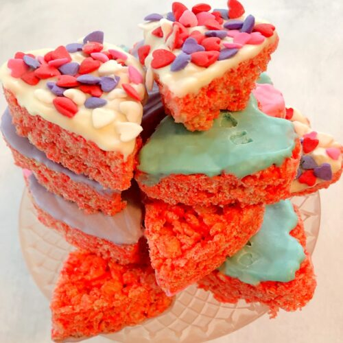 stack of rice krispie hearts on a cake stand