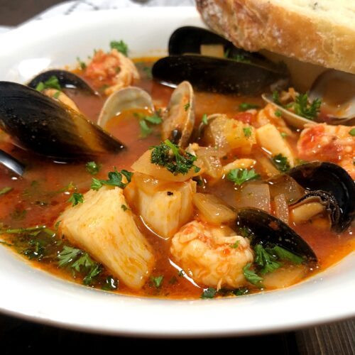 a bowl of seafood cioppino