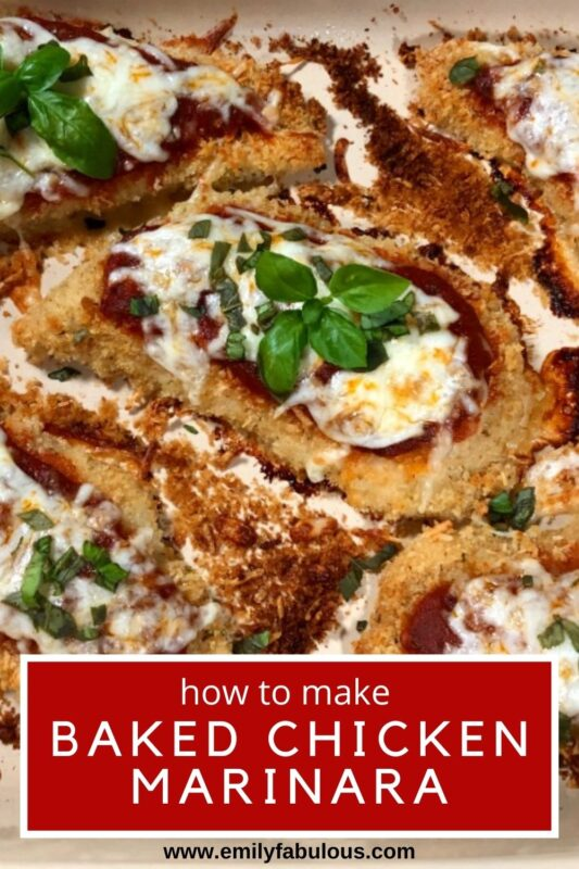 a baking dish with baked chicken covered in marinara sauce, cheese and fresh basil