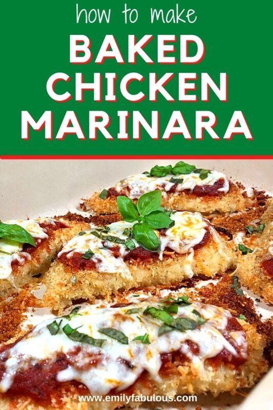 baked chicken marinara with cheese and basil