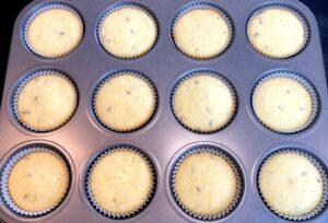 baked lemon lavender cupcakes in a cupcake pan