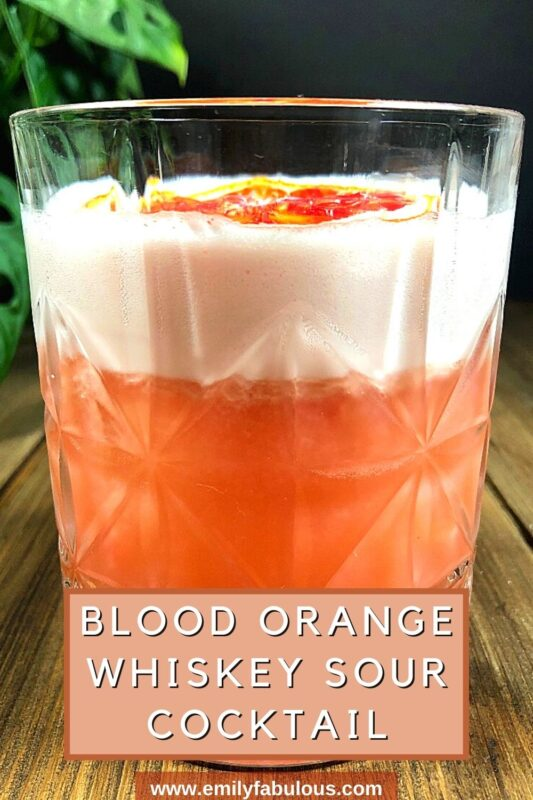 blood orange whiskey sour in a low ball glass with a orange slice garnish