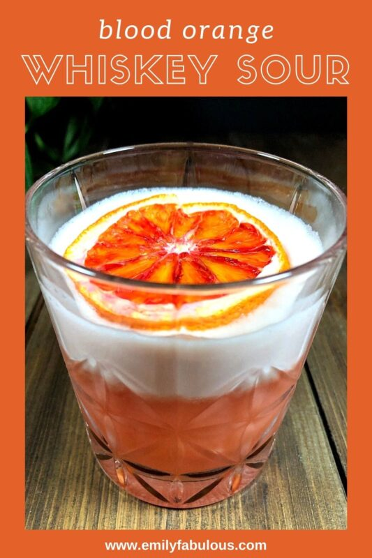 blood orange whiskey sour with an egg white foam on top and a dehydrated orange slice as garnish