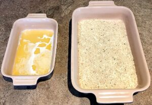 butter and breadcrumb stations for baked chicken