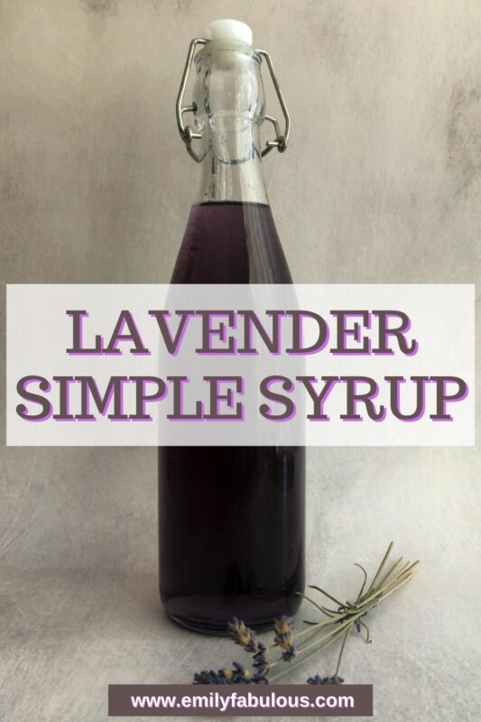 lavender simple syrup in a bottle
