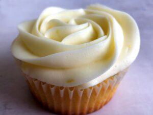 lemon lavender cupcake with lemon buttercream frosting on top