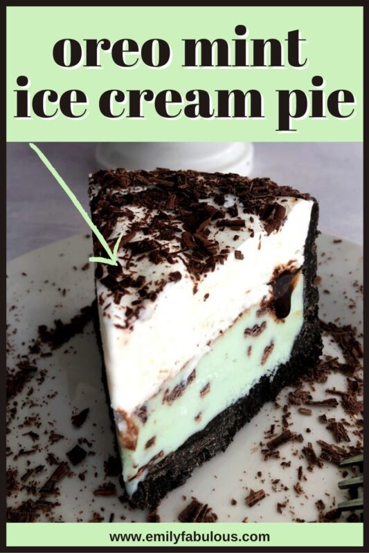 a piece of mint ice cream pie with layers of oreo crust, mint ice cream and mint whipped cream