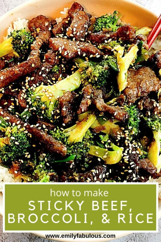 sticky beef and broccoli with sesame seeds on rice