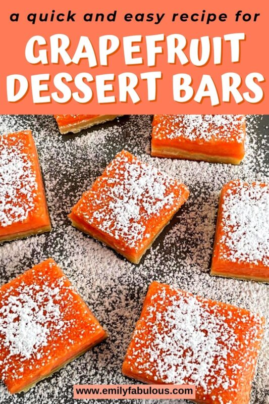 Grapefruit bars on a plate with powdered sugar sprinkled on top