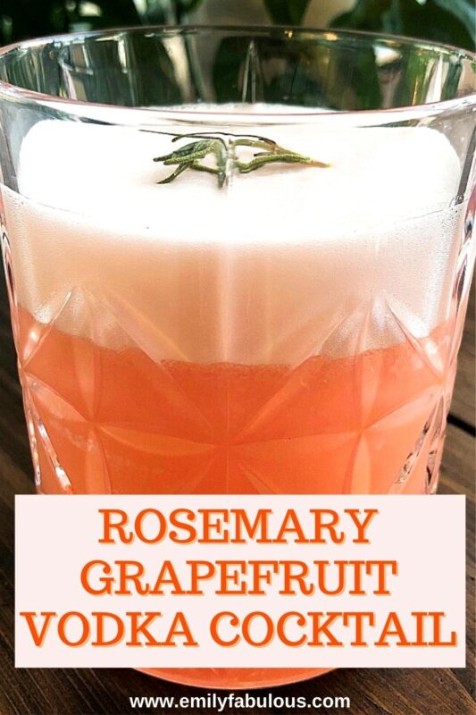 pink Rosemary Grapefruit Cocktail with egg white foam