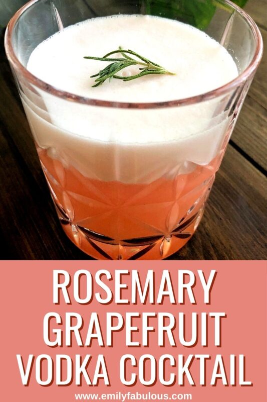 Rosemary Grapefruit Cocktail with a small rosemary sprig garnish on top