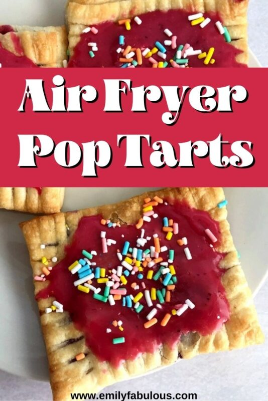 homemade pop tarts cooked in an air fryer made with puff pastry, berries, and sprinkles