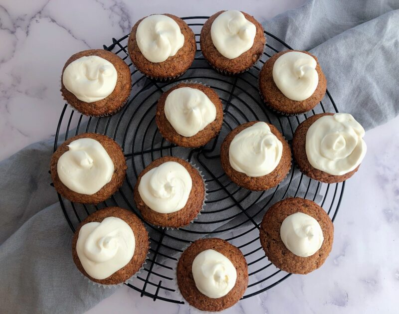 banana muffins on a round coolings rack