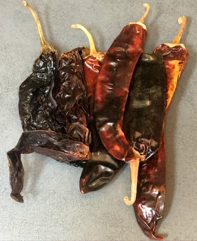 dried Mexican chiles on a counter