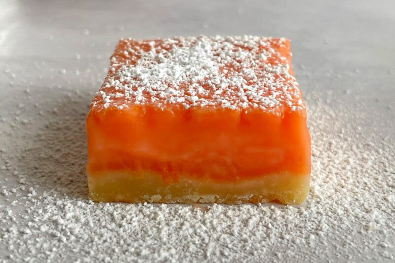 grapefruit bar with powdered sugar speinkled on top