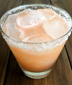 grapefruit elderflower margarita with a salt rim