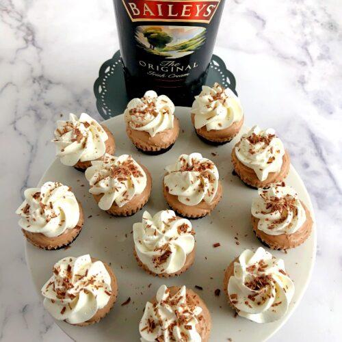 mini irish cream cheesecakes and irish cream
