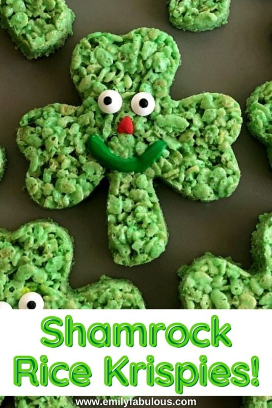 rice cereal shamrocks with sprinkles and frosting to make a face