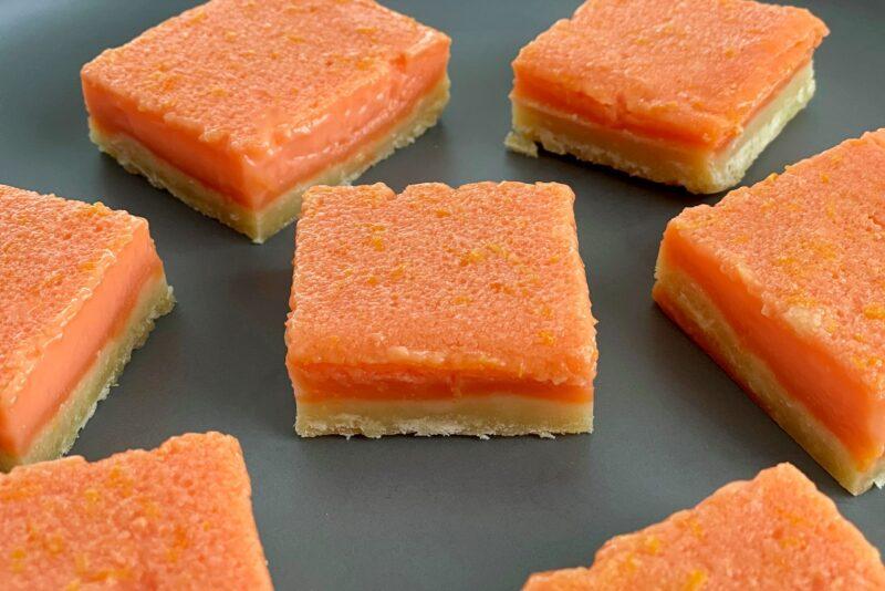 sliced grapefruit bars on a plate