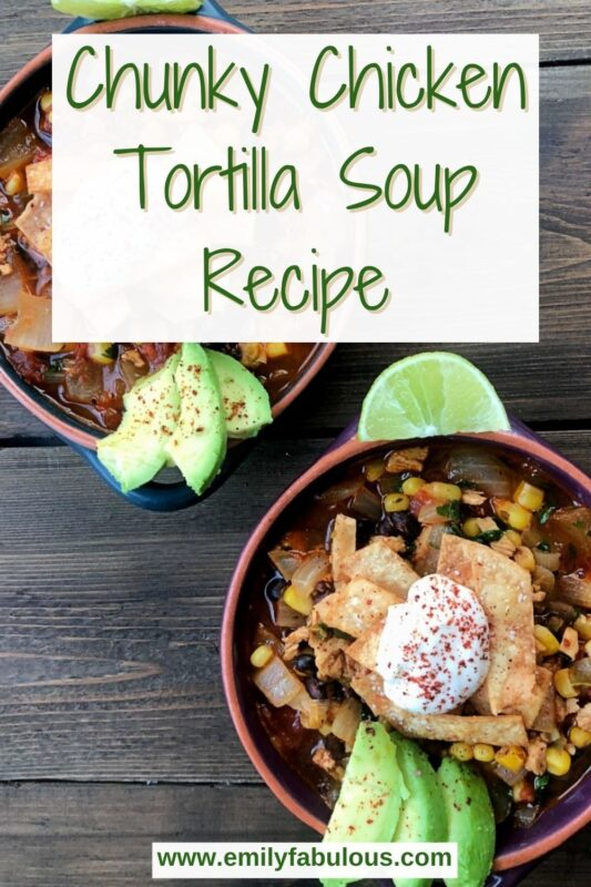 two bowls of tortilla soup with toppings