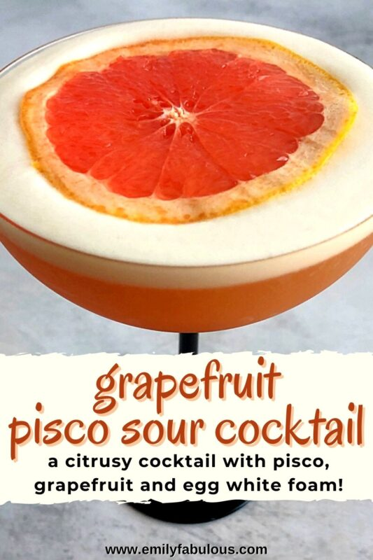 a grapefruit pisco sour in a coupe glass with a slice of grapefruit on top of the foam