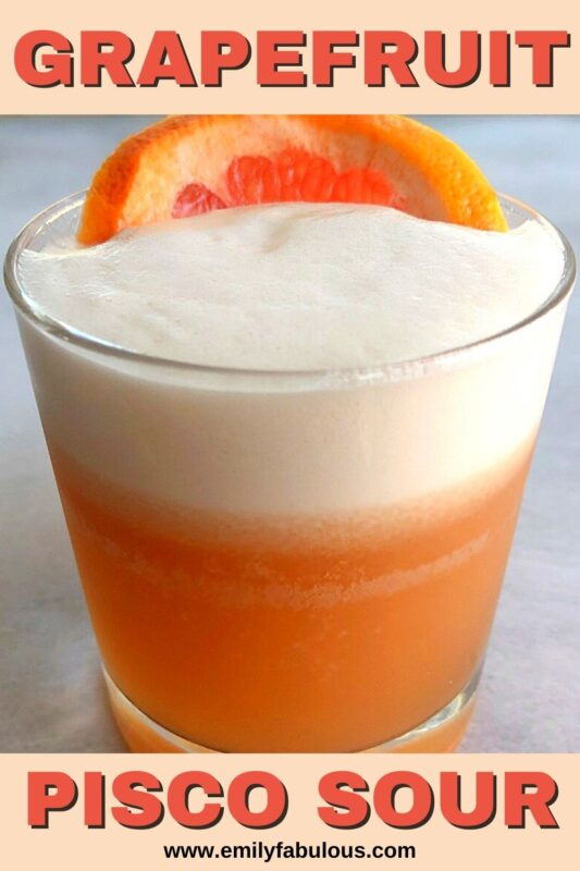 Grapefruit pisco sour in a lowball glass