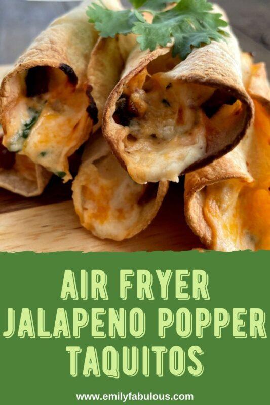close up of amn air fried jalapeno popper taquito