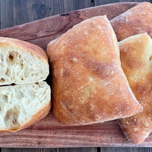 ciabatta rolls on a cutting board