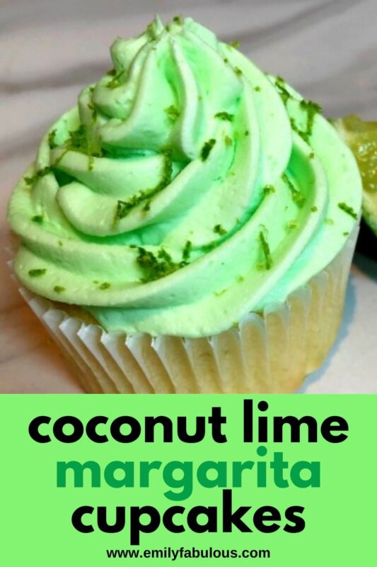 coconut lime margarita cupcake with lime zest on top of green frosting