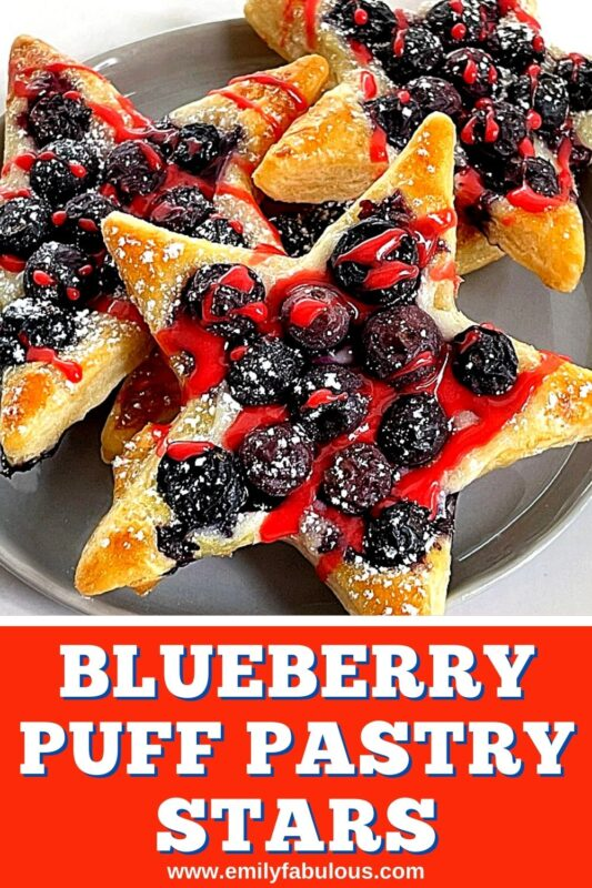 puff pastry blueberry stars with red icing on top