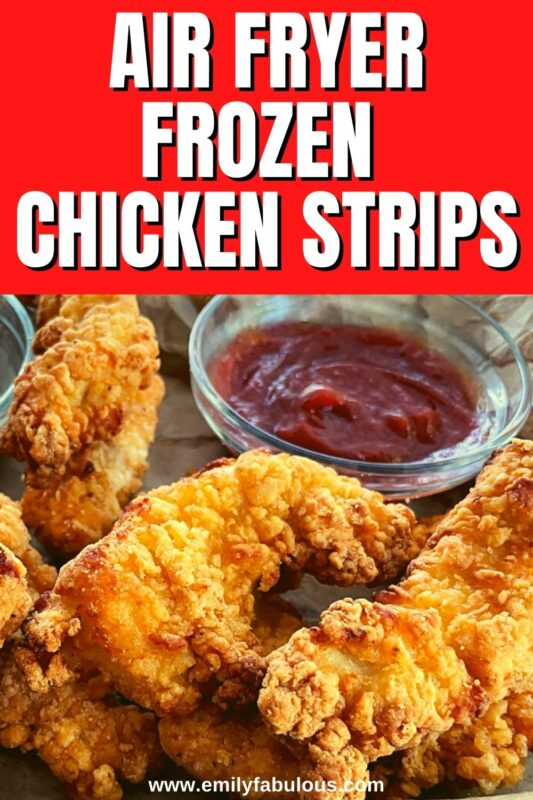 a basket of chicken strips cooked in the air fryer with ketchup on the side