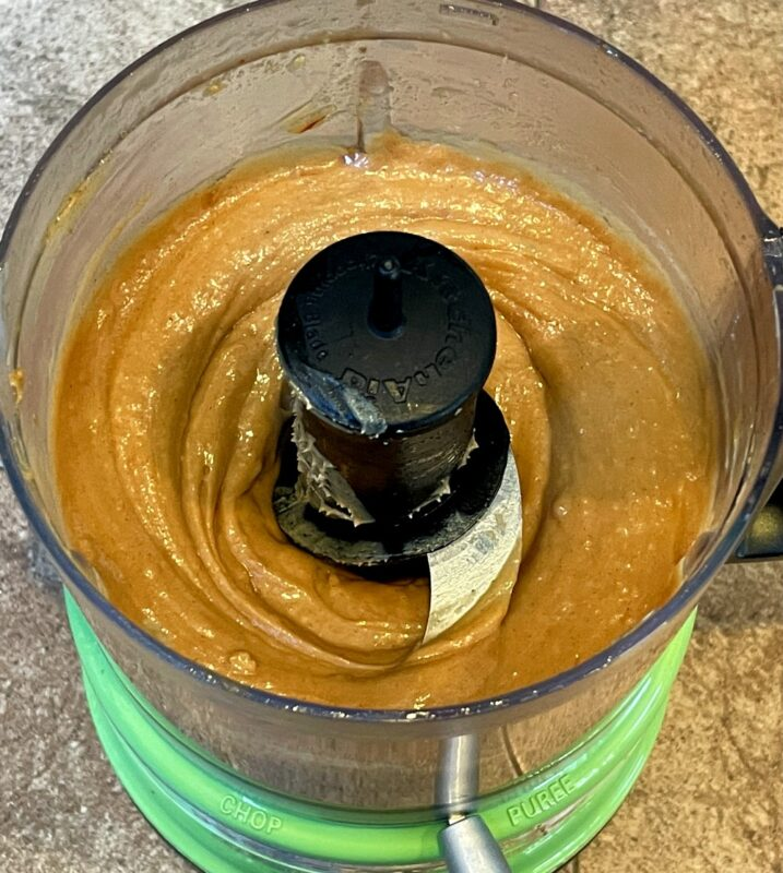 homemade peanut sauce in a food processor