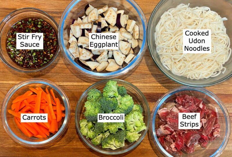 ingredients for udon noodle stir fry