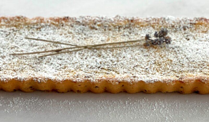 lavender tart with lavender sprigs on top